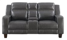 Emerald Home Beckett Power Motion Console Loveseat With 2 Power Headrests-gray Leather-u7143-44-03
