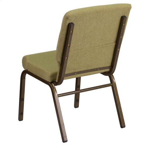 HERCULES Series 18.5''W Stacking Church Chair in Moss Green Fabric - Gold Vein Frame