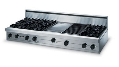 """Forest Green 60"""" Open Burner Rangetop - VGRT (60"""" wide rangetop with six burners, 24"""" wide griddle/simmer plate)"""