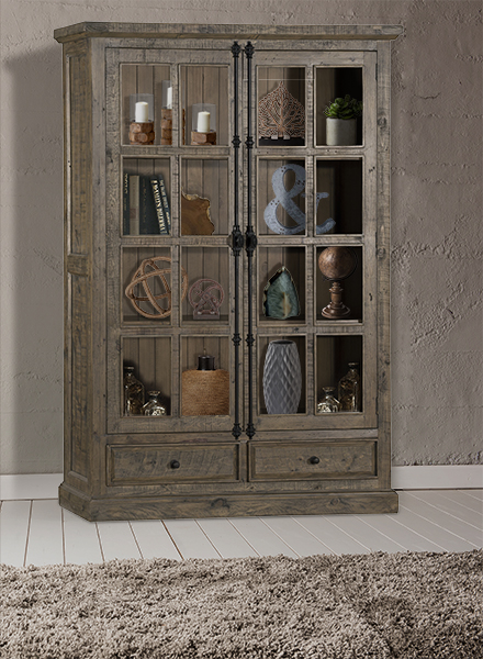 Tuscan Retreat Double Door Cabinet Glass Front And 2 Drawers Aged Gray
