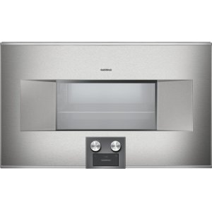 "Gaggenau400 series 400 series Combi-steam oven Stainless steel-backed full glass door Width 30"" (76 cm) Right-hinged Controls at the bottom"