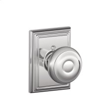 Georgian Knob with Addison trim Non-turning Lock - Bright Chrome