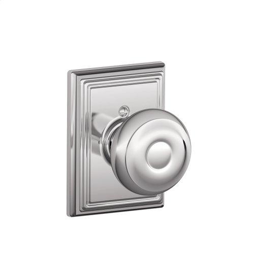 Georgian Knob with Addison trim Non-turning Lock - Bright Chrome