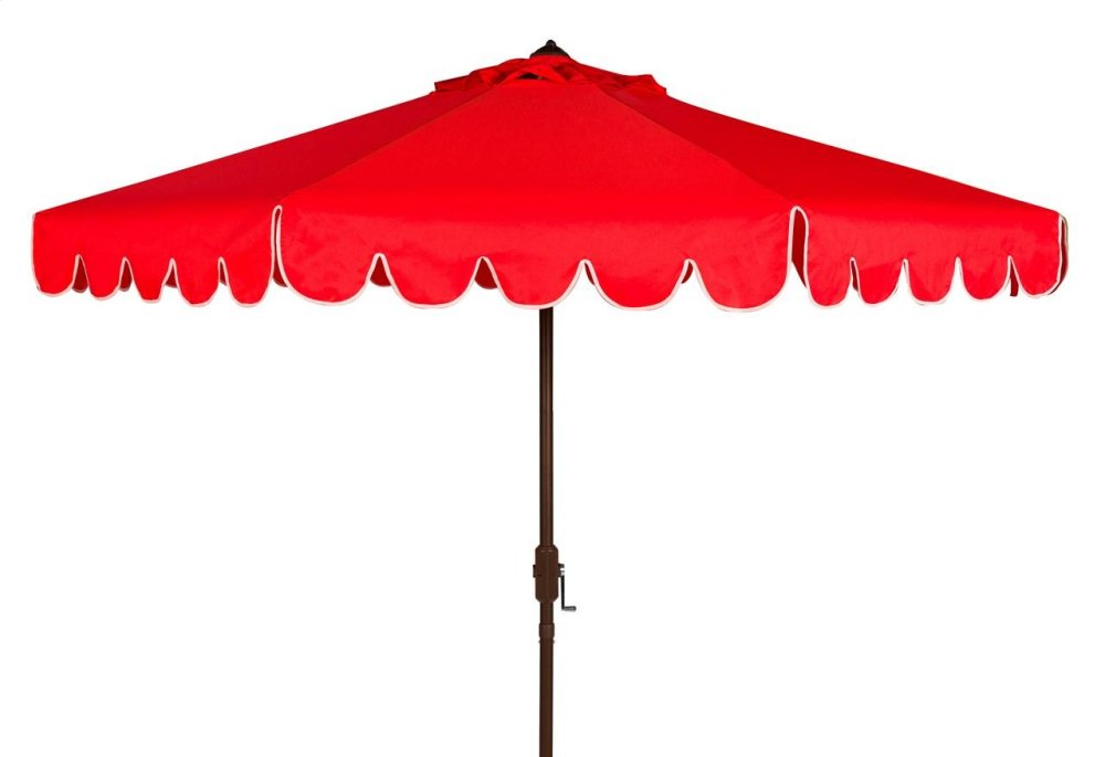 Venice Single Scallop 9ft Crank Outdoor Auto Tilt Umbrella - Red / White