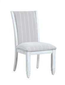 Upholstered Side Chair-antique White Finish-fabric #dawson-graystone