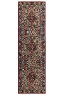 Multicolor Panel Kirman - Runner 2ft 6in x 12ft