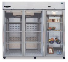 Refrigerator, Three Section Upright, Full Glass Door