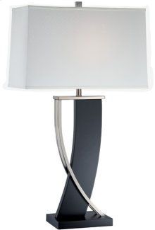 Table Lamp, Dark Walnut/ps/white Fabric Shd, E27 Cfl 23w