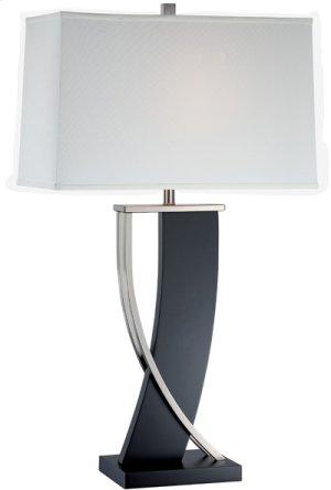 Table Lamp, Dark Walnut/ps/white Fabric Shd, E27 Cfl 23w