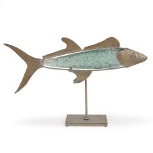 Recycled Glass Barracuda on Metal Stand