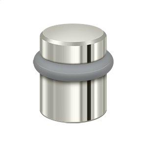 "Round Universal Floor Bumper 1-1/2"", Solid Brass - Polished Nickel"