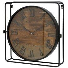 Metal Wood & Glass Wall Clock  22in X 21in
