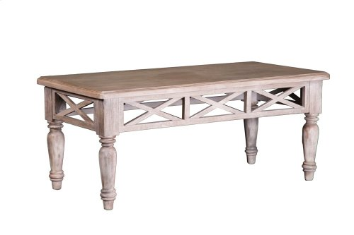 Coffee Table, Available in Aged White or Vintage Walnut Finish.