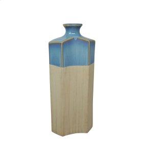 "Ceramic 15.75"" Vase, Blue/ivory"