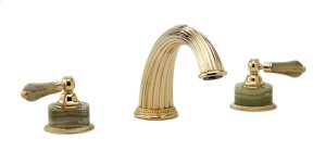 Deck Tub Set Green Onyx - Polished Brass Uncoated
