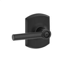 Broadway Lever with Greenwich trim Bed & Bath Lock - Matte Black