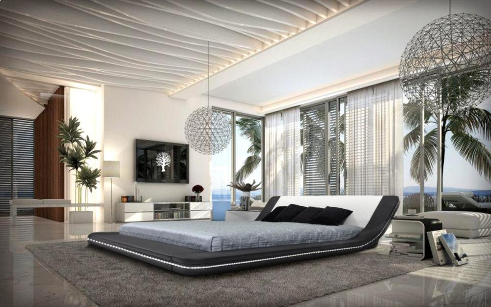 Additional Marquee   Contemporary Eco Leather Platform Bed With LED Lights  ...