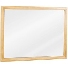 "44"" x 34"" Large reed-frame mirror with beveled glass and Buttercream finish."