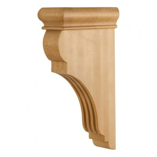 "3"" x 6-1/2"" x 12"" Fluted Wood Bar Bracket Corbel, Species: Oak"
