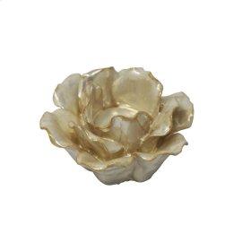"Ceramic 4.5"" Rose Tealight Holder, Pearl"
