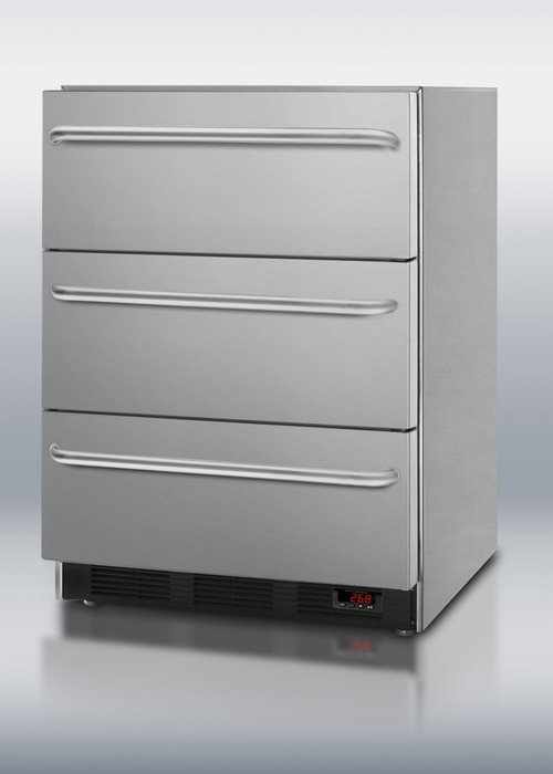 3-drawer built-in undercounter medical all-freezer in complete stainless steel with towel bar handles, digital thermostat, and manual defrost operation