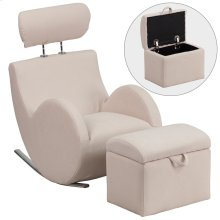 Beige Fabric Rocking Chair with Storage Ottoman