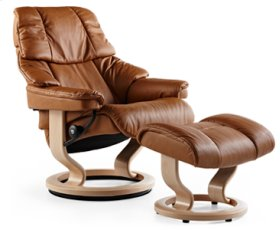 Stressless Reno Medium Recliner and Ottoman