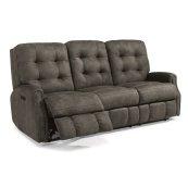 Devon Fabric Power Reclining Sofa with Power Headrests and Nailhead Trim
