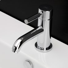 Deck-mount single-hole faucet with a pop-up and lever handle.
