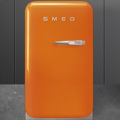 50's Retro Style Mini Refrigerator, Orange, Left hand hinge