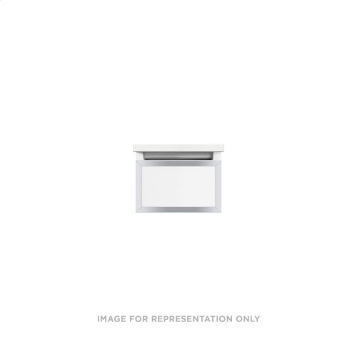 """Profiles 12-1/8"""" X 7-1/2"""" X 21-3/4"""" Framed Slim Drawer Vanity In Matte White With Chrome Finish and Slow-close Full Drawer"""