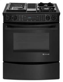 Black Jenn-Air® Slide-In Modular Dual-Fuel Downdraft Range with Convection, 30""