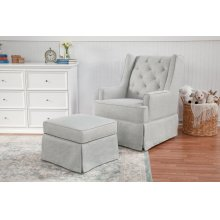 Light Grey Tweed Sadie Swivel Glider with Storage Ottoman