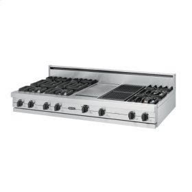 """Stainless Steel 60"""" Open Burner Rangetop - VGRT (60"""" wide, six burners 12"""" wide griddle/simmer plate 12"""" wide char-grill)"""