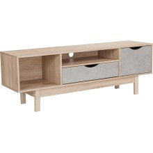 St. Regis Collection TV Stand in Oak Wood Grain Finish with Gray Drawers