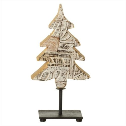 Small Whitewash Recycled Block Print Tree on Stand (Each One Will Vary).