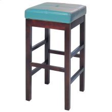 Valencia Backless Leather Bar Stool, Blue