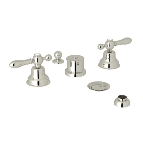 Polished Nickel Arcana Five Hole Bidet Faucet with Arcana Series Only Classic Metal Lever