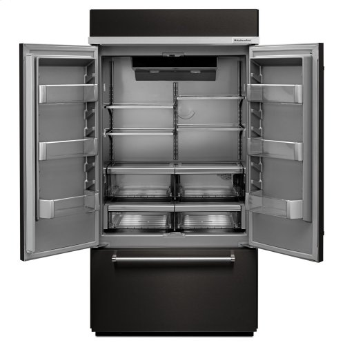 """24.2 Cu. Ft. 42"""" Width Built-In Stainless French Door Refrigerator with Platinum Interior Design - Black Stainless Steel with PrintShield™ Finish"""