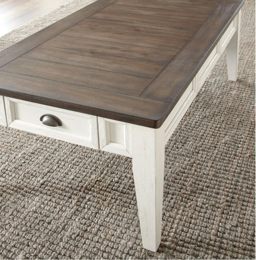 "Cayla Cocktail Table, Dark Oak/ White, 52""x32""x18"""