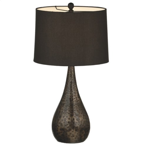 Antique Bronze Pounded Metal Lamp. 150W Max