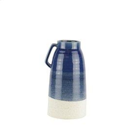 """Ceramic Handled Vase, 12.75"""" Navy"""