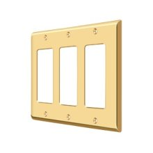 Switch Plate, Triple Rocker - PVD Polished Brass