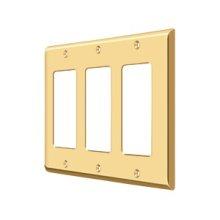 Switch Plate, Triple Rocker - PVD Polished Brass