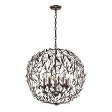 Circeo 5-Light Pendant in Deep Rust with Crystal