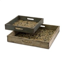 Corinne Square Wooden Serving Trays - Set of 2