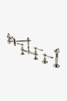 Julia Two Hole Bridge Articulated Kitchen Faucet, Metal Lever Handles and Spray STYLE: JUKM43