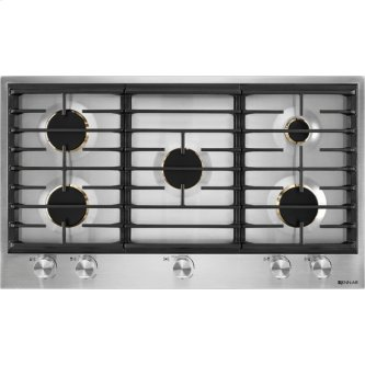 """Euro-Style 36"""" 5-Burner Gas Cooktop, Stainless Steel"""