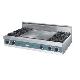 "Iridescent Blue 48"" Open Burner Rangetop - VGRT (48"" wide, four burners 24"" wide griddle/simmer plate)"