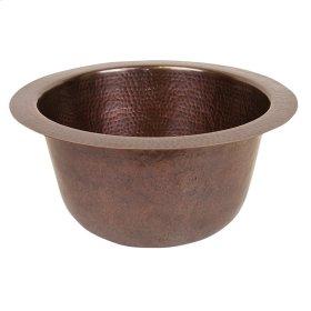 "Turner 16"" Round Copper Bar Sink - Hammered Antique Copper"